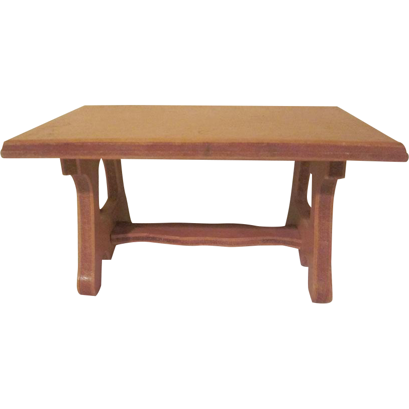 Wanner Grand Rapids 1 12 Dining Room Trestle Table Dollhouse From Milkweedantiques On Ruby Lane