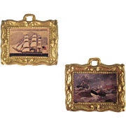 "Ormolu Frame 1/2"" Ship Prints Pair of Dollhouse Accessories"