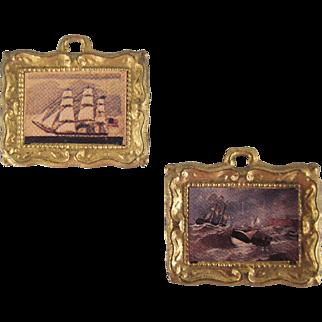 "Ormolu Frame 1/2"" Ship Prints Pair of Dollhouse Accessories"