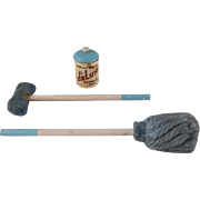 Dolly Dear Mop, Sponge Mop, and Garbage Can Dollhouse Accessories
