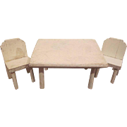 "Kage 3/4"" Kitchen Table and 2 Chairs Dollhouse Furniture"