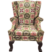"Block House 1"" Queen Anne Style Green Wing Back Chair #1526 Dollhouse Furniture in Original Box"