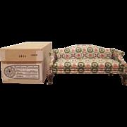 "Block House 1"" Queen Anne Style Green Print Sofa Dollhouse Furniture in Original Box"