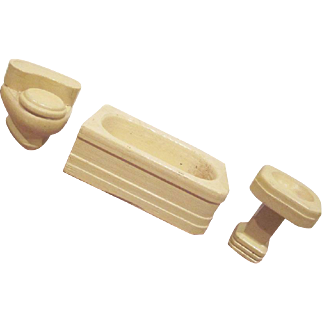"Strombecker 3/4"" 3 Piece Bathroom Dollhouse Furniture"