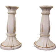 Early Pair of Pottery Miniature Candlesticks Dollhouse Accessories