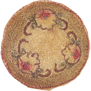 Vintage Round Machine Hooked Rug for a Dollhouse