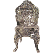 Hallmarked Sterling Silver Miniature Dollhouse Chair