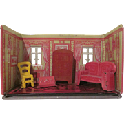 HOLD Marx Newlywed Tin Litho Library Room and 4 Pieces Dollhouse Furniture