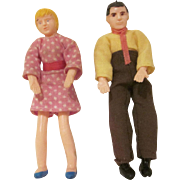 Miner Industries Bend-Me-Toy Mother and Father Dollhouse Dolls