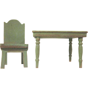 "Strombecker 3/4"" 1934 Kitchen Table and Chair Dollhouse Furniture"