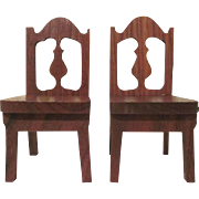 "Strombecker 1"" 1936 Pair of Dining Room  Chairs Dollhouse Furniture Have 2 Pairs"
