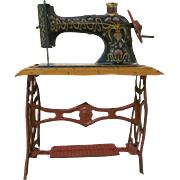 Vintage Made in Germany Tin Litho Penny Toy Sewing Machine Dollhouse Furniture