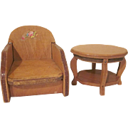 "Wanner Grand Rapids 1-1/2"" Club Chair and Turtle Back Table Dollhouse Furniture"