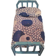 """Tootsie Toy 1/2"""" Blue Bed with Hand Made 1930s Cotton Mattress and Pillow Dollhouse Furniture"""