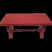 "Strombecker 3/4"" Trestle Kitchen Table in Red Dollhouse Furniture"