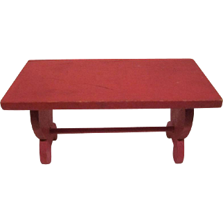 "Strombecker 3/4"" Trestle Kitchen Table in Red Dollhouse Furniture"