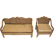"Tootsie Toy 1/2"" Wicker Look Sofa and Club Chair in Gold Dollhouse Furniture"