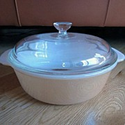 Fire King Copper Tint 1-1/2 Quart Casserole with Lid & Original Label