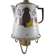 Georges Briard Pineapple Coffee Pot and heating Stand Enamelware