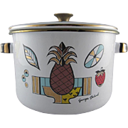 Georges Briard Pineapple Covered Pot Enamelware