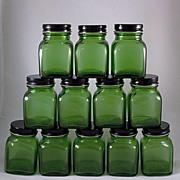 Original Box of 12 Forest Green 'Powder' Jars Owens-Illinois