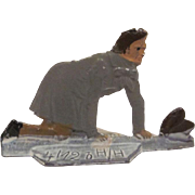 Made in Germany Lead Flat Man on His Knees Retrieving His Hat Christmas Winter Scene Figure