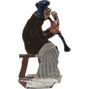 Made in Germany Lead Flat Woman Sits Playing a Horn Christmas Winter Scene Figure