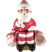 Figural Ceramic Santa Claus Decanter with 4 Cups Made in Japan