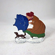 Germany Flat Woman in Wind with Umbrella and Dog Lead Winter Figure