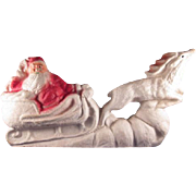 Paper Mache Santa in Sleigh with Reindeer Christmas Decoration