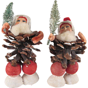 Vintage Pair of Made in Japan Pine Cone Santas