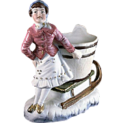 Made in Germany Lady with Sleigh Planter Weiss, Kuhnert & Co.