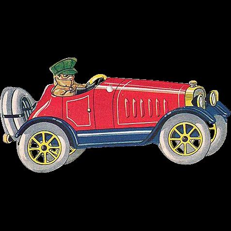 Cardstock Boy Driving Roadster Vintage Christmas Ornament