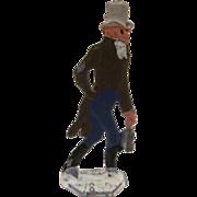 Germany Metal Flat Man Carrying his Ice Skates Christmas Winter Scene Figure