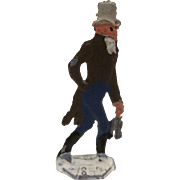 Germany Metal Flat Man Carrying his Ice Skates Christmas Winter Scene Figure