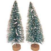 "Pair of Vintage Green Bottle Brush Trees with Snow 6"" Tall"