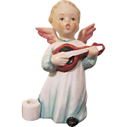 Adorable Goebel Standing Angel Plays a Lute Candle Holder Hummel Figure W. Germany Pottery
