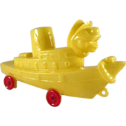 Rosbro Hard Plastic Tug Boat With Clown Head on Wheels Toy