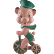 HOLD Easter Rosbro Hard Plastic Bear on a Tricycle Sucker Holder