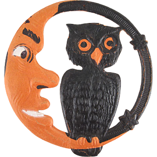 Small Germany Halloween Diecut Moon and Owl Decoration