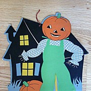 JOL Man Outside a Haunted House Diecut 1940s - Red Tag Sale Item