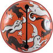 Tin Litho Halloween Rattler with Ghosts and Black Cats U.S.A.
