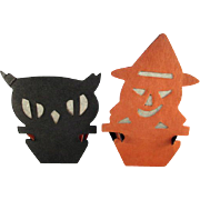 Pair of Beistle Reversible Silhouette Nut Cups Witch & Owl for Halloween