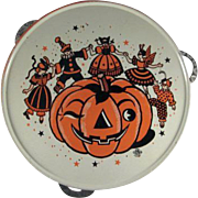U.S. Metal Toy Tin Litho Halloween 'Party' Tambourine