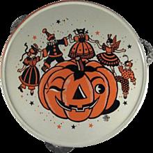 U.S. Metal Toy Tin Litho Halloween 'Party' Tambourine