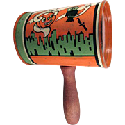 Tin Litho Halloween 'Can' Shaker T. Cohn Witch & Ghost in the City
