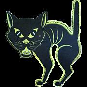 Beistle Halloween Diecut of a Screech Cat with a Large Head