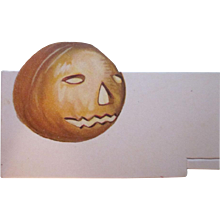 HOLD Early C.S.C. Co. New York Made in Germany Halloween Jackolantern Placecard Not Used