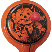 Early Tin Litho Chein with Kids and Jackolantern Halloween Clanger Noisemaker