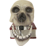 Made in Japan Bisque Skull Jaw Nodder Candlestick or Match Holder